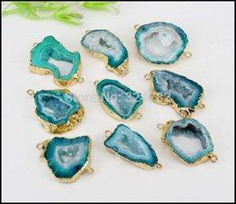 Gem Slices Australia - gem stones 5pcs Geode Slice Stone Connectors,Gold Metal Natural Gem stone Connectors in Green color,For Making Jewelry