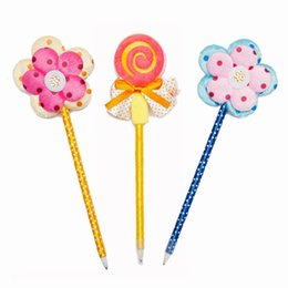 metal ballpen UK - Ballpen Plastic Flower Lollipop Blue Pencil Lead Fashion Office Supplie Metal Rubbion Handwork Bold Handwriting For Children Office Hot
