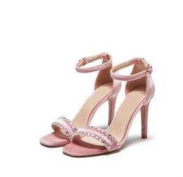 $enCountryForm.capitalKeyWord NZ - Women Pink Flock Leather Cover Heel Sandals Gladiator Summer Hollow Out Ankle Buckle Strap Rivets Decoration High Heel Shoes