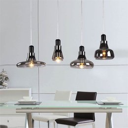 Edison Chandelier Light Pendant Canada - Modern brief shadows led crystal glass cord pendant light smoke gray dining room Bar E27 Edison chandeliers light