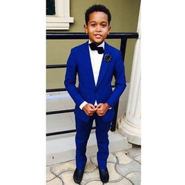 Handsome Kids Suits Australia - 2019 Handsome Jacket Pants 2 Pieces Set Royal Blue Boys Suits for Wedding Dinner Formal Suits for Children Kids Tuxedos
