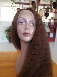 $enCountryForm.capitalKeyWord Australia - #4 Dark Brown Glueless Human Hair Malaysian Kinky Straight Lace Front Wigs For Black Women Cheap Coarse Yaki Braided Wig #1B #2 Available