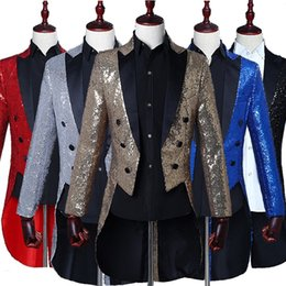 $enCountryForm.capitalKeyWord NZ - Mens Sliver Gold Sequin Glitter Blazer Jacket Men Nightclub Dinner Party Wedding Tailcoat Suit Men Gorgeous Punk Prom Costume Homme