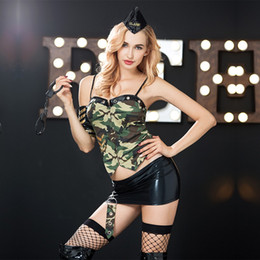 $enCountryForm.capitalKeyWord NZ - Sexy Women Camouflage Military Outfit Police Cosplay Costumes For Adult Women Sexy Carnival Party Police Role Play Outfit 6308