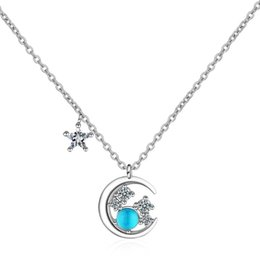 moon star crystal necklace NZ - New Arrival 100% 925 Sterling Silver Elegant Moon & Star Crystal Female Pendant Necklace Promotion Women Gift Short Chains