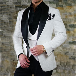 Navy Suits For Sale Australia - Hot Sale Mens Suits Slim Fit Jacquard Pattern Groomsmen Wedding Tuxedos For Men Shawl Lapel Three Pieces Formal Prom Suit