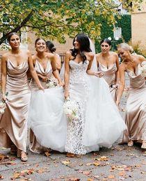 $enCountryForm.capitalKeyWord Australia - 2019 Sexy Spaghetti Straps Long Bridesmaid Dresses Elastic Silk Like Satin Maid Of Honor Wedding Guest Gown Custom Made