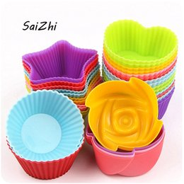 Heart Shaped Cupcakes Australia - 5PCS Silicone Cupcake Circle Heart Star Flower Shapes Jelly Pudding mold 7*3 cm Cake Tool Kitchen Accessories QC5643