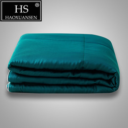 China 100% Lyocell Tencel Fabric Thin Quilt Dark Cyan Summer Comforter Solid Color Quilts Queen King Size Adult Blanket Bed Cover suppliers
