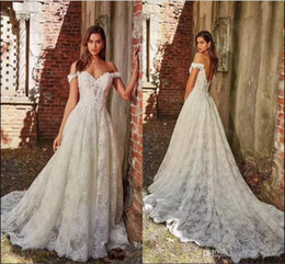 floral maxi dresses weddings 2020 - Ivory A-line Lace Wedding Dress Off Shoulder Open Back Floral Bride Long Maxi Gown Custom Made Mariage Robe de mairee Br