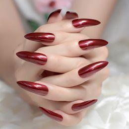 $enCountryForm.capitalKeyWord Australia - Sexy Red Press On Nails Extra Long Stiletto Fake Uv Gel Shine Party Finger Decoration Nail Tips Set Of 24