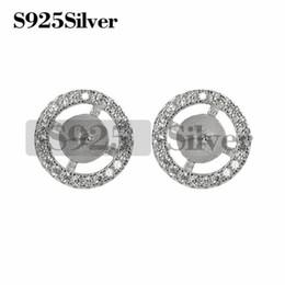 9c56afcc44eb Círculo redondo Zirconia cúbica Stud Earring perla monta 925 plata  esterlina DIY joyería que hace 5 pares