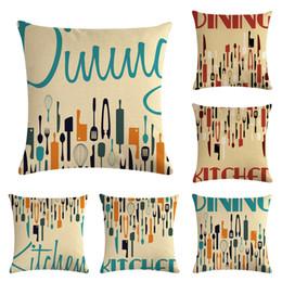 Square Kitchen Designs Australia - 45 * 45CM Interesting Kitchen Tableware Design Pattern Pillowcases for Home Decor Square Sofa Cushion Cover