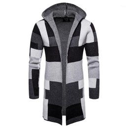 mens wool long coat green UK - Coats Patchwork Color Cardigan Hooded Mens Blends Knitted Striped Loose Casual Male Outerwears Plaid Long Mens