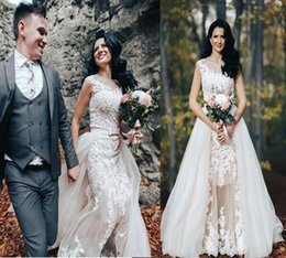 cheap wedding dress detachable skirt Australia - 2019 Over Skirts Mermaid Wedding Dresses Tulle See Through Vintage Lace Appliqued Sash Detachable Train country cheap Bridal Wedding Gowns