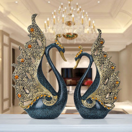 $enCountryForm.capitalKeyWord NZ - European Luxury Creative Resin Swan Ornament Home Decoration Crafts Tv Cabinet Office Statues Accessories Wedding Gift Figurines Y19062704