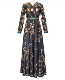 1214 2019 Primavera Verano Vestido estampado de flora Con cuello en v Imperio Falda de fiesta Vestido de fiesta Celebrity Style Fashion Manga larga YY