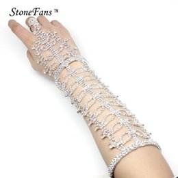 plastic bracelet cuffs 2019 - Stone Fans Rhinestones Long Wedding Bracelets Bangles For Women Bridesmaid Leaves Trendy Cuff Bracelets Armband Strass C