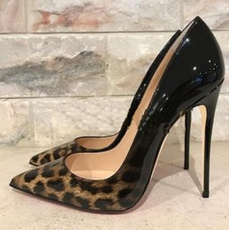 Pink stitch dresses online shopping - New Leopard Pattern Stitching Pumps Black Patent Leather High heeled Shoes Sexy Stiletto Heel Pointy Toes Women Dress Shoes
