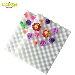 flower molds for cakes UK - Delidge 2pcs set Fondant Cake Tools Fondant Flower Shaping Sponge Pad Cake Molds for the Kitchen Baking Cake Decorating Tools