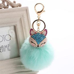 $enCountryForm.capitalKeyWord UK - Charms Crystal Faux Fox Fur Keychain Women Trinkets Suspension On Bags Car Key Chain Key ring Toy Gifts Llaveros Jewelry kids toys