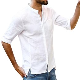 Oversize Top Wholesale Australia - white classics sweatshirts men Fashion Summer Linen and Cotton Sleeve Top Blouse for men Casual oversize sweatshirts