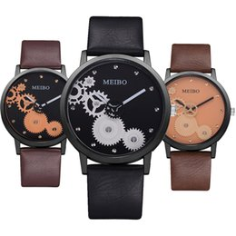 Watches for business online shopping - 2019 trend mens fashion black dial gear leather watch men male business casual simple PU quartz wristwatch for men
