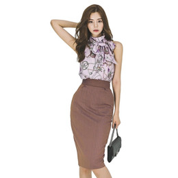 floral print knee length tops Australia - 2019 Korean office lady fashion print top + waist striped skirt two-piece suit