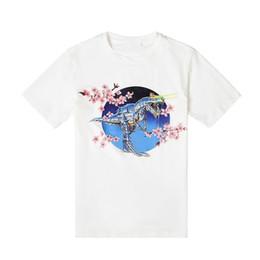 $enCountryForm.capitalKeyWord Australia - 19ss Luxury Designer Short Sleeve Dinosaur Cherry Blossom Print Tee Street Fashion Black White Casual Men Women Couple T-shirt Hfsstx087