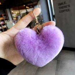 $enCountryForm.capitalKeyWord UK - Winter love plush pendant heart keychain car ornaments accessories bag imitation rex rabbit fur ball wholesale cheap key chain
