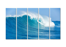 $enCountryForm.capitalKeyWord Australia - Large 5 Panel Modern Beach Canvas Print Surf Ocean Wave Seascape Painting Art Wall Home Decor Picture Contemporary For Living Room ASet184