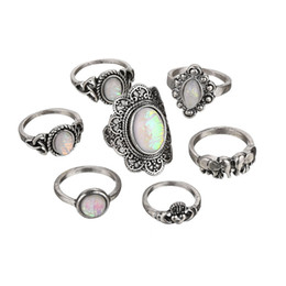 ElEphant jEwElry sEts online shopping - Free DHL Bohemia Retro Carved Heart Love Elephant Sets Natural Stone Rings Joint Tail Ring Female For Women Jewelry H409R A