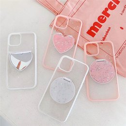 glitter factory UK - Makeup Mirror Stand Glitter Phone Case For iphone 11 Pro Max X XR XS Max 8 7 6 6S Plus Retro Simple Heart Back Cover Coque Factory Direct