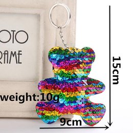 Cute bear for Car online shopping - Cute Bear Keychain Glitter Pompom Sequins Key Ring Gifts for Women Charms Car Bag Accessories Key Chain