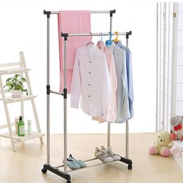 Racks Wheels Australia - wholesale US UK FR Stock Garment Rack Steel Double Rail Clothes Garment Dress Hanging Rack Display Organizer on Wheels Shoes