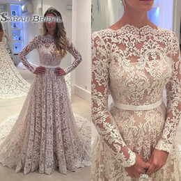 See Through Wedding Dress Crystal Beading Canada - Robe De Soiree Long Sleeves 2019 Lace Wedding Dresses Arabic Lace Sheer Bateau Neck Custom Made See Through Back Bridal Gowns with Belt