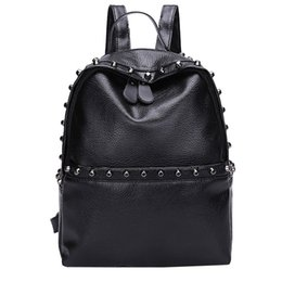 backpack school tote bag 2019 - Vintage Backpack Women Students PU Leather Rivets Shoulder Bag School Bag Tote Backpack Ladies Gift mochila feminina dis