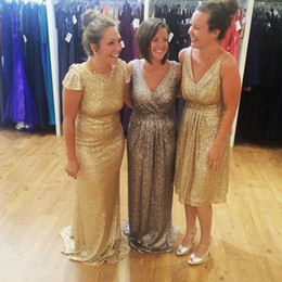 winter cocktail dresses for wedding 2019 - glitter different style Gold Silver Sequins Bridesmaid Dresses For Fall Country Wedding Bling Knee Length Short Prom Coc