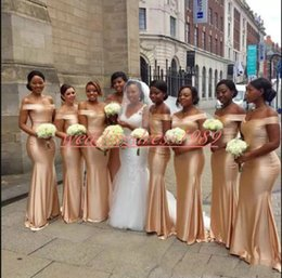 $enCountryForm.capitalKeyWord Australia - Elegant Gold African Mermaid Bridesmaid Dresses Off Shoulder Wedding Guest Wear Evening Formal Party Gowns Prom Juniors Maid Of Honor Dress