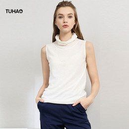 $enCountryForm.capitalKeyWord Australia - TUHAO Knitted Sleeveless Vest Women Summer Autumn Scarf Collar Pullover Sweaters Office Ladies Thin Cotton Casual Tops LQ134