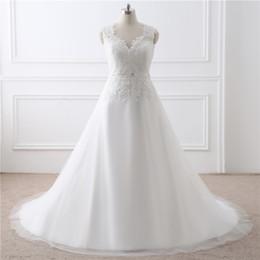 Опт Простые свадебные платья V-образным вырезом с плоским плечом и кружевной талией Декоративные молнии Поддельные застежки Платья для невесты