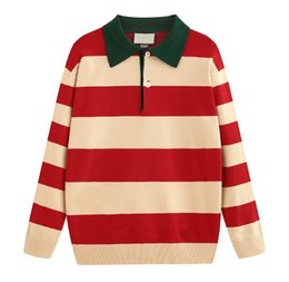$enCountryForm.capitalKeyWord Australia - 19 New autumn and winter Polo cotton knit striped Pullover sweater Mens women lapel Neck Long Sleeve Sweater Coat