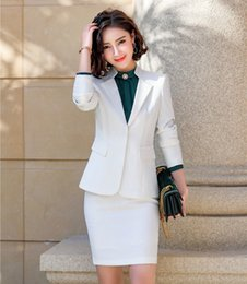 $enCountryForm.capitalKeyWord Australia - Novelty White Formal Business Suits With Skirt and Blazer Coat & Jackets For Ladies Office Professional OL Styles Female Blazers