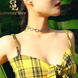 Sweet Valentine Gifts Australia - Fashion Korean Sweet Love Heart Choker Necklace For Women Silver Gold Color statement Necklaces Jewelry Valentines Party Girl Gift
