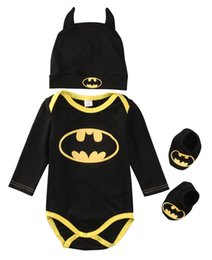 cool new shoe brands UK - Baby Boys Clothes Set Cool Batman Newborn Baby Boy Romper+Shoes+Hat 3pcs 2017 New Bebes Outfits Clothes Body Suit For Newborns