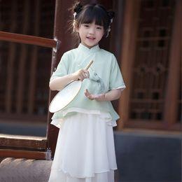 Chinese Suits Australia - Girls'Hanshu Summer Chinese Style Children's Dress Baby Tang Dress Girls' Skirt Suit Children's Ancient Dress Republican StyleD154