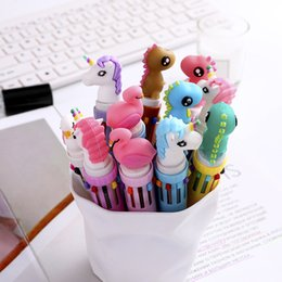 $enCountryForm.capitalKeyWord Australia - 40pcs Kawaii Ballpoint Pen Dinosaur Unicorn Multicolor 10 In 1 Colored Ball Pens for School Cute Office Supplies Writing Gift
