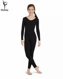 Spandex body coStume online shopping - Unisex Kids Long Sleeve Child Unitard Black Full Body Lycra Spandex Bodysuit Girls Footless Scoop Neck One Piece Dance Costume