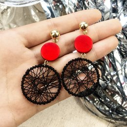 ladies jewerly 2019 - Trendy Big Round Statement Earrings for Women Vintage Gold Stud Earring Female Jewerly Earings Ladies Gifts for Girls Bi