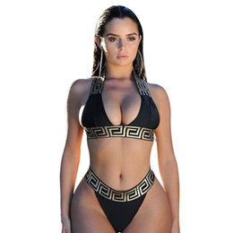 Sexy unlined bikiniS online shopping - Hot Sale Women Golden Lace Black Beach Set Sexy NeckBackless Piece Bikini Set For Holiday